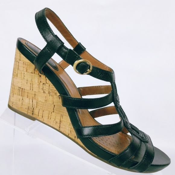 6b49e012c471 Clarks Shoes - Clarks Artisan Women s Black Cork Wedge Sandals 8M